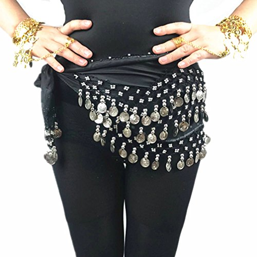 Top 2017 New Gift Black 128 Silver Coins Belly Dance Hip Scarf Wrap For Halloween Party hot sale