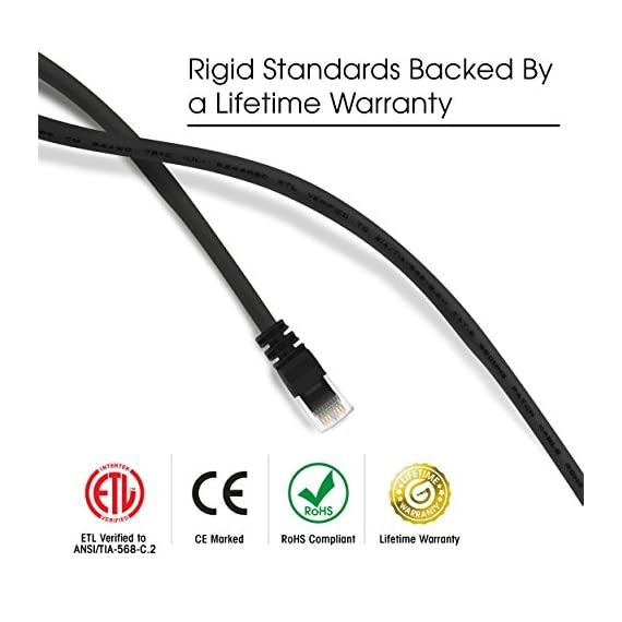 Gearit 0. 5 feet cat 6 ethernet cable cat6 snagless patch - computer lan network cord, black 5 high-precision, cat 6, ansi/tia-568-c. 2 compliant, etl verified, ethernet lan patch cable, pre-terminated with rj45 connectors and available in a wide variety of colors for proper color coding premium quality, long-lasting materials, durable design, and a lifetime warranty for the price of a generic cable. Etl verified to ensure maximum reliability and compatibility utp 24awg stranded conductors for flexibility, twisted in pairs and nested in a spline to minimize crosstalk, 50 micron gold-plated contacts for high-speed data transfer and corrosion resistance
