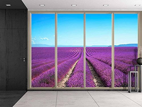 Field Covered in Rows with Purple Flowers Viewed From Sliding Door Creative Wall Mural Peel and Stick Wallpaper