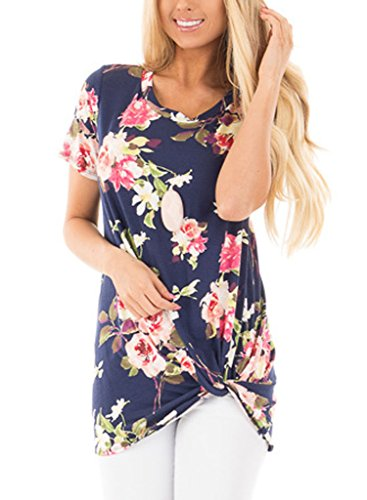 chase-secret-womens-floral-printed-knot-front-tee-shirt-tunic-large-navy