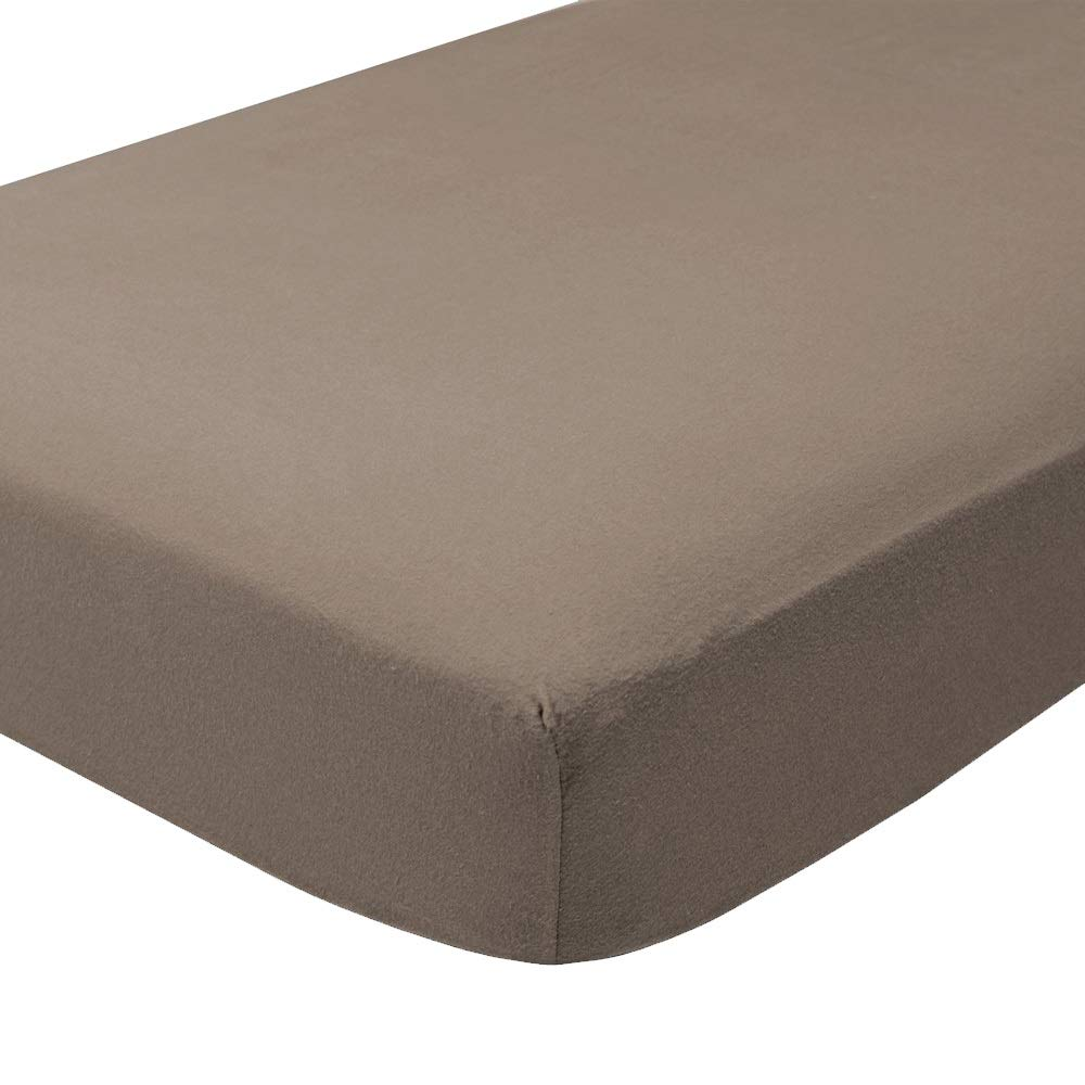 Bare Home Flannel Fitted Bottom Sheet 100% Cotton, Velvety Soft Heavyweight - Double Brushed Flannel - Deep Pocket (Twin XL, Taupe)