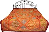 Multicolor Antiquated Bedspread from Kutch with Mirrors and Embroidered Giant Mandala - Pure Cotton