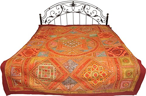 Multicolor Antiquated Bedspread from Kutch with Mirrors and Embroidered Giant Mandala - Pure Cotton by Exotic India