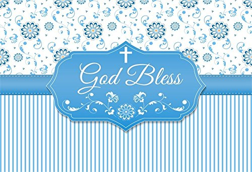 (LFEEY 7x5ft God Bless Cross Infant Baptism Photography Backdrop Baby Shower Christening Beautiful Floral Parttern White Blue Stripes Background Cloth Photo Studio Props)