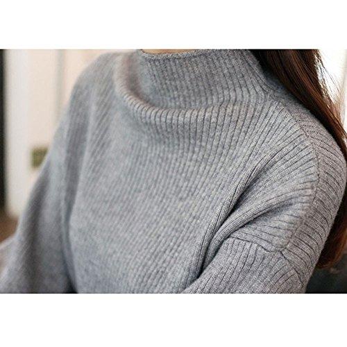 479086eae6089d Pervobs Women Turtleneck Sweater Warm Lantern Long Sleeve Loose Knit  Sweater Jumper Outwear