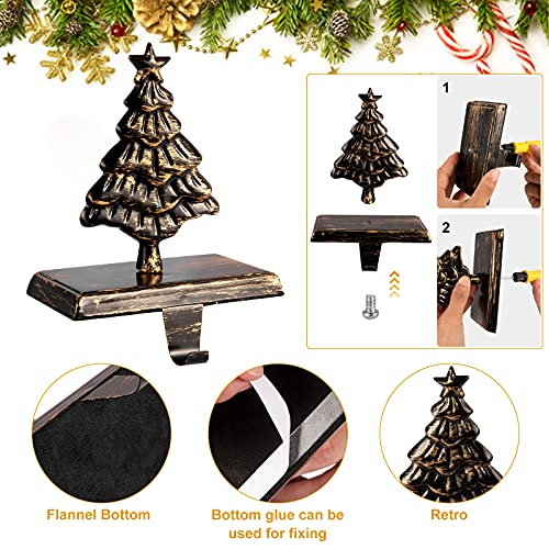 Metal Tree Christmas Stocking Holder - for Fireplace Mantle Stocking Hook Hanger as Indoor Vintage Christmas Decor
