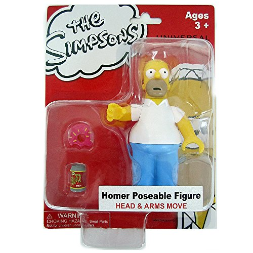 Exclusive Universal Studios The Simpsons Ride - Homer Simpson Poseable Action Figure With Buzz Cola And Doughnut (Studios Universal Simpsons)