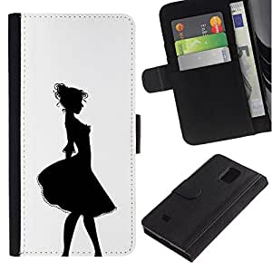 All Phone Most Case / Oferta Especial Cáscara Funda de cuero Monedero Cubierta de proteccion Caso / Wallet Case for Samsung Galaxy Note 4 IV // Girl Relief Contour Black White