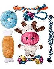 Toozey puppyspeelgoed - 7 STUKS Duurzaam hondenspeelgoed voor puppy's/kleine honden - kauwspeelgoed en piepend speelgoedintelligentie - natuurlijk katoen en niet-giftig