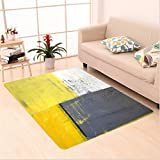 Nalahome Custom carpet and Yellow Street Art Modern Grunge Abstract Design Squares White Charcoal Grey and Light Yellow area rugs for Living Dining Room Bedroom Hallway Office Carpet (5′ X 8′) Review