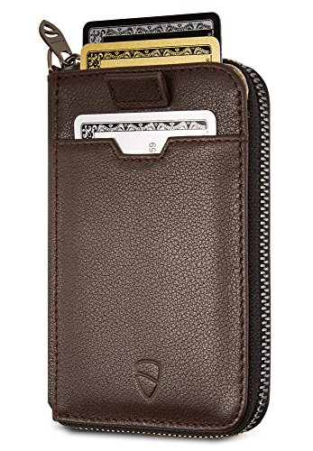 Vaultskin NOTTING HILL Slim Zip Wallet with RFID Protection for Cards Cash Coins (Brown) ()