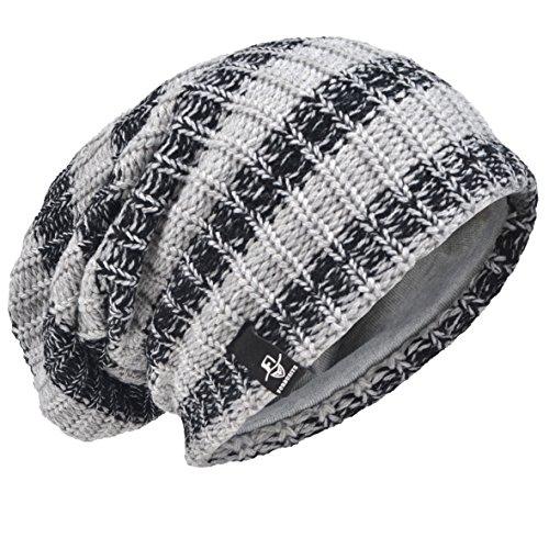 (VECRY Men's Cool Cotton Beanie Slouch Skull Cap Long Baggy Hip-hop Winter Summer Hat (Stripe-Pale))