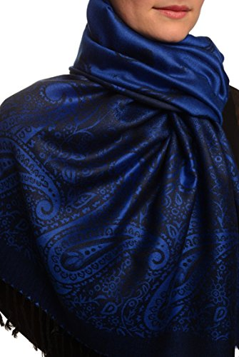 Small Paisley On Medium Blue Pashmina Feel With Tassels - Bleu ?charpe Taille Unique - 70cm x 180cm