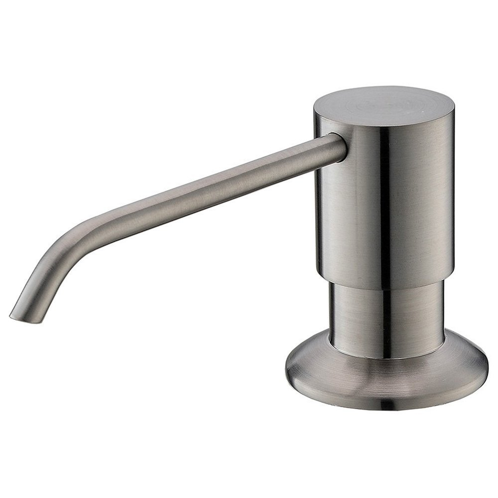 KINGO HOME Kitchen Sink Countertop Stainless Steel Pump Hand Lotion Deck Mount Brushed Nickel Built In Soap Dispenser, 3 Inch Reach Nozzle - 100% SATISFACTION WARRANTLY