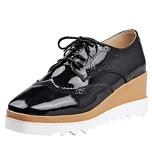 Latasa Womens Lace-up Wedges Oxford Shoes Black RqYCG75jZc