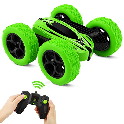 (Kaseberry RC Stunt Remote Control Car, 4WD Off Road Monster Truck for Kids, Double Sided Tumbling 360 Rotation, 2.4Ghz High Speed Rock Crawler Vehicle Gifts for Boys / Girls, Ages 6 +(Green))