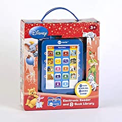 join your favorite Disney characters on an adventure! Eight illustrated books, featuring characters from finding Nemo, the Lion King, Aladdin, and more, come packaged with a sleek Me reader module that reads each book aloud. Choose a book, pr...