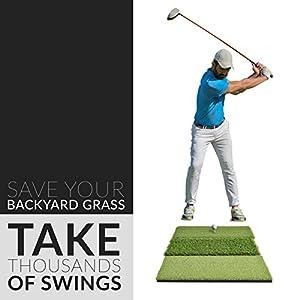 Rukket Tri-Turf Golf Hitting Grass Mat | Realistic Fairway & Rough | Portable Driving, Chipping, Training Aids | Backyard & Indoor Practice