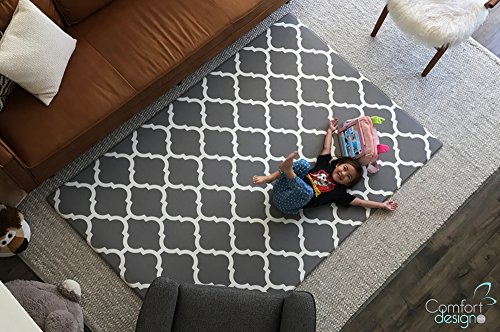 Premium Stylish Foam Floor Mat | Cushy-Soft & Thick | Waterproof, Easy-to-Clean, Hypoallergenic, Non-toxic, Reversible, Portable | Baby Play Mat, Yoga Mat, Exercise Mat - Large Grey Lattice