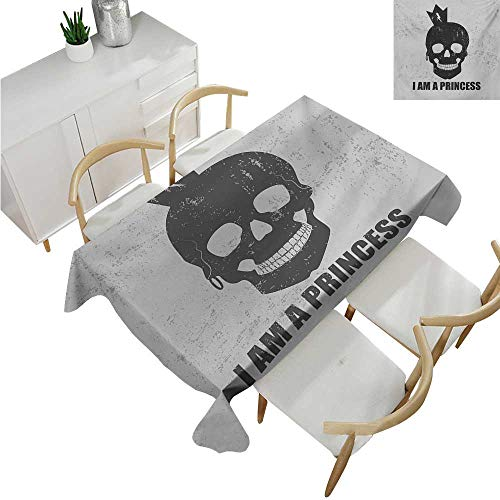 familytaste I am a Princess,Christmas Tablecloth,Skull with a Crown Skeleton Halloween Theme Grunge Look,Polyester Washable Table Cover 50