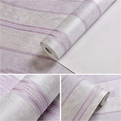 - 3D Stereo Stripe Wallpaper Modern Minimalist Non-Woven Fabric Thick Waterproof 10m x 53cm Living Room Bedroom (Color : Light Purple)