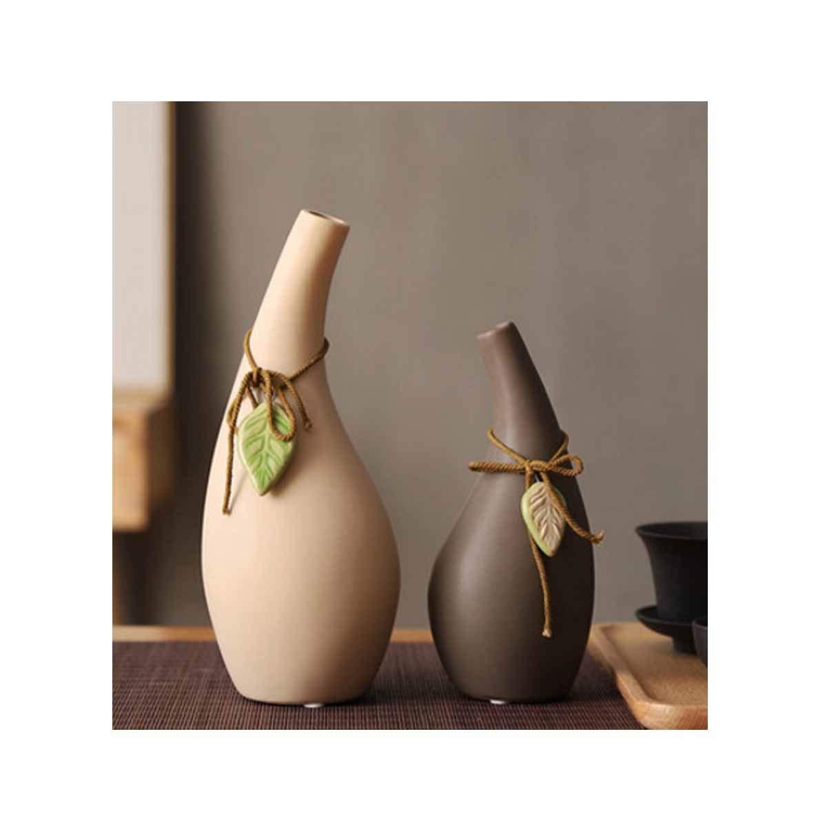 花瓶、禅セラミック花瓶、造花デスクトップ装飾ファッションクラシックスタイル、カーキプラスグレー (Color : Gray 1) B07RRX75W9 Gray 1