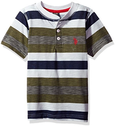 Kids Printed T-shirts - U.S. Polo Assn. Little Boys' Toddler Printed Slub Henley T-Shirt, Olive Branch, 4T