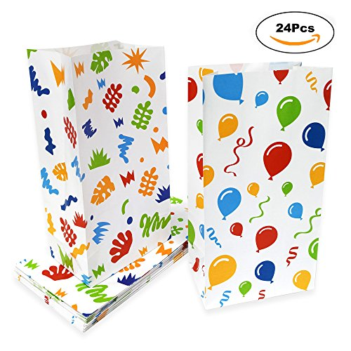Party Paper Goody Treat Bags for Kids - 24 Pack Party Favor Snacks Bags Party Goodies Paper Candy Cookies Bags for Birthday Party, Classroom Party 10.1 x 5.2 x 3.25 inches - Color by Lucky Party