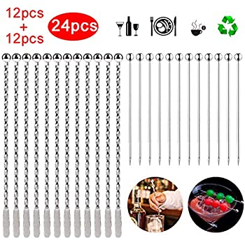 7.4 inches CDOFFICE 10 Pcs Stainless Steel Coffee Beverage Stirrers Cocktail Swizzle Stick