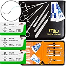 Sutures Thread with Needle + Training Tools Medical & Nursing Student's Surgical Practice Suture Set, Wilderness Survival Demo Kit, First Aid Field Tactical Emergency Practice