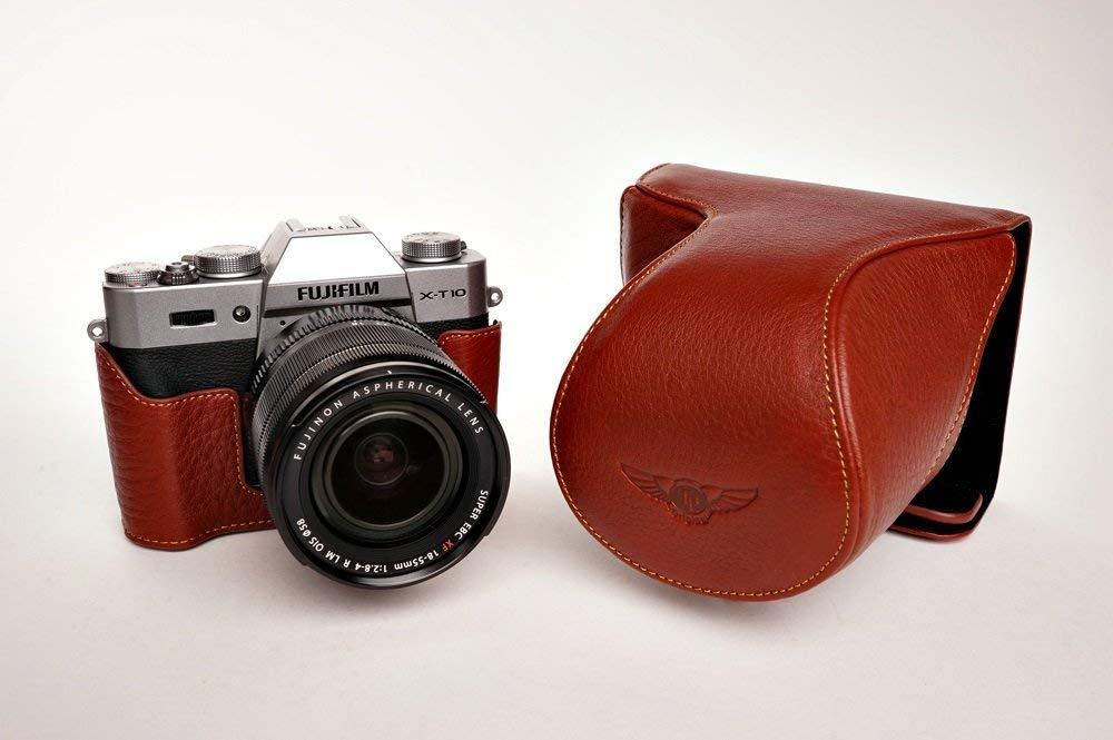 富士フイルム X-T10 用本革レンズカバー付カメラケース(18-5516-50mm用) (電池,SDカード交換可) ブラウン B07STD86T1 カメラケース FreeSize