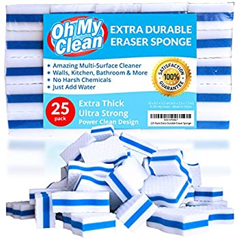 (25 Pack) Extra Durable Eraser Sponge - Extra Thick, Long Lasting, Premium Melamine Sponges in Bulk - Multi-Purpose Power Scrubber - Bathroom, Kitchen, Floor, Bathtub, Toilet, Baseboard, Wall Cleaner