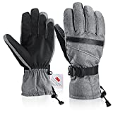 Winter gloves, Fazitrip Men's Ski Gloves Waterproof Windproof with Sensitive Touchscreen Function and Zipper Pocket, 3M Thinsulate Insulation Idea for Skiing, Snowboarding and Cycling