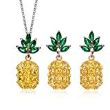 Akvode Women's Yellow Fruit Pineapple Two Piece Jewelry Set AAA Cubic Zircon Pendant Necklace Stud Earrings for Hawaiian Vacation Beach Party Daily