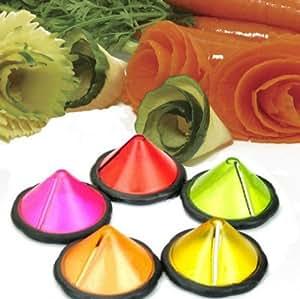 New Stainless Steel Carrot Cucumber Curler Julienne Maker Vegetable Garnishing Tool (Green)