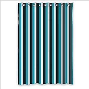 Best Custom Curtain - White,Black and Navy Stripe 100% Polyester Waterproof Shower Curtain 48 x 72