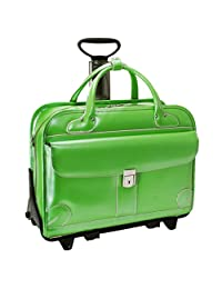McKleinUSA 96611 LAKEWOOD Leather Fly-Through Checkpoint-Friendly Detachable-Wheeled Ladies Briefcase for Laptop, Green
