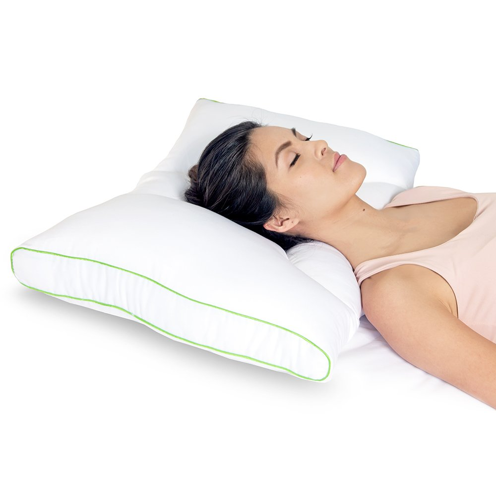 Sleep Yoga Dual Position Neck Design, Hypoallergenic, Ergonomically Designed Cervical Pillow to Help Improve Posture, Flexibility, and Sleep Quality, Medium Firm, White