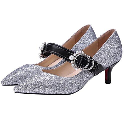 90dd1a2554c9d0 ... AIYOUMEI Damen Kitten Heel Glitzer Pumps mit Schnalle Kleiner Absatz  Schuhe Damen Mary Janes Silber ...