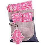 Minene Universal Pushchair Stroller Pram Buggy Liner Footmuff Cosytoes Car Seat with safety straps (Pink& White Flowers)