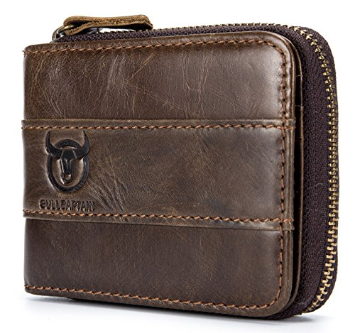 Mens Leather Wallet Zipper RFID Blocking Wallets Coins Purse (Deep brown)