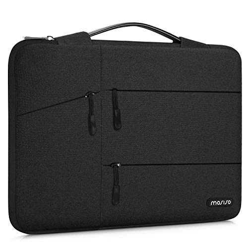 MOSISO 360 Protective Laptop Sleeve Compatible with 13-13.3 inch MacBook Pro, MacBook Air, Notebook, Shockproof Carrying Case Cover Handbag, Polyester Bag with Organizer Pockets & Trolley Belt, Black