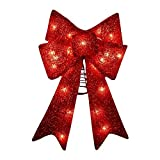 Kurt Adler UL0885 Lighted Bow Hanger Tree Topper, 14-Inch, Red (Small Image)