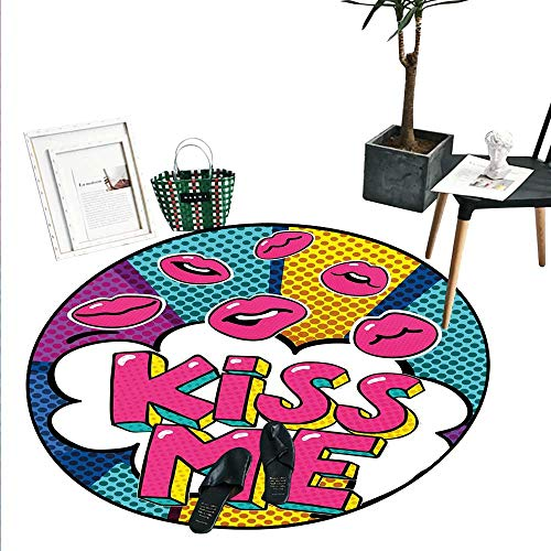 Kiss Round Small Door Mat Kiss Me Word Bubble in Pop Art Style Retro Colorful Dotted Backdrop with Pink Lips Indoor/Outdoor Round Area Rug (2' Diameter) Multicolor