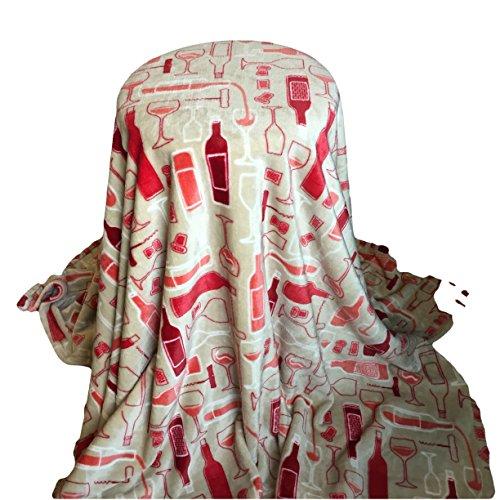 Personalized Blanket 5'x6' - Wine on Beige - Custom Embroidery - Monogrammed Throw Blanket - Ultra Plush