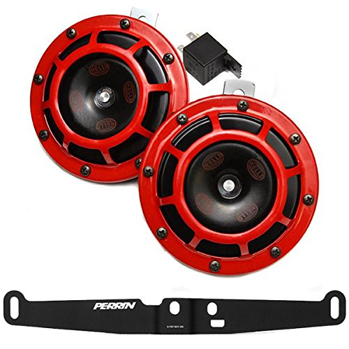 HELLA Supertone 12V High / Low Tone Twin Horn Kit with Perrin Bracket for 2008-14 Subaru WRX STI (Red) ()
