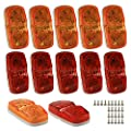 LED Trailer Marker Lights - 6 Red & 6 Amber Combination Bullseye Lights   Rear & Side Exterior Clearance Surface and Sleeper Panel Mount   12V Universal Fit for Campers, Trucks, Semis, RVs, Boats