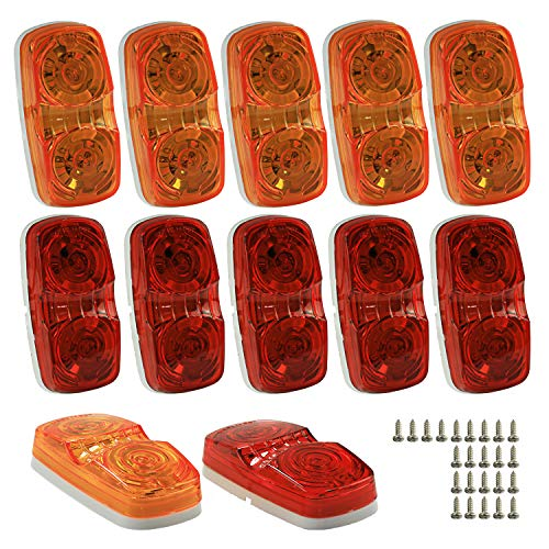Wellmax LED Trailer Marker Lights, 6 Red and 6 Amber Combination Bullseye Lights, Rear and Side Exterior Clearance Surface and Sleeper Panel Mount, 12V Universal Fit ()