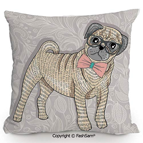 FashSam Throw Pillow Covers Hipster Pug with Nerdy Glasses and Bow Tie Cartoon Design Funny Decorative for Couch Sofa Home Decor(24