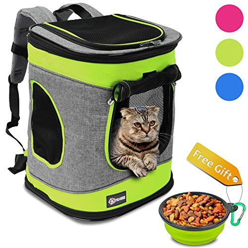 "Pawsse Dog Backpack Cat Carrier Backpack Puppy Rucksack up to 15 LBS Padded Fabric Outdoor Short Trip Pet Carrier Backpacks 16"" H x13.2 L x12 W Green and Grey"